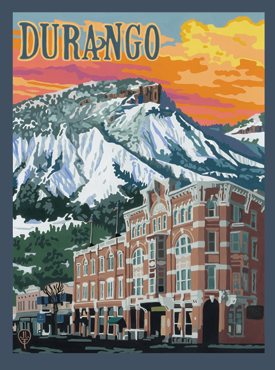 Durango Art, Durango Artwork, Durango Posters, The Bungalow Craft, Bungalow Craft, Julie Leidel, Colorado Art, Colorado Artwork, Colorado Posters, 14er Posters, 14er Art, 14er Artwork, WPA Poster, WPA Art, WPA Artwork, FAP Poster, FAP Art, FAP Artwork, National Park Poster, Vintage Poster, Vintage Poster Art, Arts and Crafts Movement, Arts & Crafts Artwork, Arts & Crafts Art, Arts & Crafts Posters, Bungalow Art, Bungalow Artwork, Bungalow Posters, Craftsman Artwork, Craftsman Posters, Mission Artwork, Ski Posters, Ski Poster Art, Ski Poster Artwork, University Art, University Artwork, University Posters