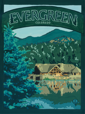 Evergreen Art, Evergreen Artwork, Evergreen Posters,The Bungalow Craft, Bungalow Craft, Julie Leidel, Colorado Art, Colorado Artwork, Colorado Posters, 14er Posters, 14er Art, 14er Artwork, WPA Poster, WPA Art, WPA Artwork, FAP Poster, FAP Art, FAP Artwork, National Park Poster, Vintage Poster, Vintage Poster Art, Arts and Crafts Movement, Arts & Crafts Artwork, Arts & Crafts Art, Arts & Crafts Posters, Bungalow Art, Bungalow Artwork, Bungalow Posters, Craftsman Artwork, Craftsman Posters, Mission Artwork, Ski Posters, Ski Poster Art, Ski Poster Artwork, University Art, University Artwork, University Posters
