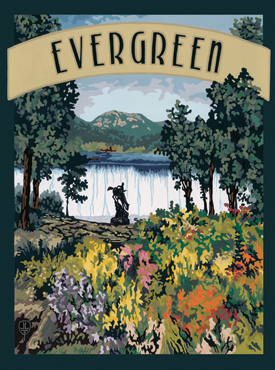 Evergreen Art, Evergreen Artwork, Evergreen Posters, The Bungalow Craft, Bungalow Craft, Julie Leidel, Colorado Art, Colorado Artwork, Colorado Posters, 14er Posters, 14er Art, 14er Artwork, WPA Poster, WPA Art, WPA Artwork, FAP Poster, FAP Art, FAP Artwork, National Park Poster, Vintage Poster, Vintage Poster Art, Arts and Crafts Movement, Arts & Crafts Artwork, Arts & Crafts Art, Arts & Crafts Posters, Bungalow Art, Bungalow Artwork, Bungalow Posters, Craftsman Artwork, Craftsman Posters, Mission Artwork, Ski Posters, Ski Poster Art, Ski Poster Artwork, University Art, University Artwork, University Posters