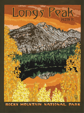 Longs Peak Art, Longs Peak Artwork, Longs Peak Posters, Rocky Mountain National Park, The Bungalow Craft, Bungalow Craft, Julie Leidel, Colorado Art, Colorado Artwork, Colorado Posters, 14er Posters, 14er Art, 14er Artwork, WPA Poster, WPA Art, WPA Artwork, FAP Poster, FAP Art, FAP Artwork, National Park Poster, Vintage Poster, Vintage Poster Art, Arts and Crafts Movement, Arts & Crafts Artwork, Arts & Crafts Art, Arts & Crafts Posters, Bungalow Art, Bungalow Artwork, Bungalow Posters, Craftsman Artwork, Craftsman Posters, Mission Artwork, Ski Posters, Ski Poster Art, Ski Poster Artwork, University Art, University Artwork, University Posters