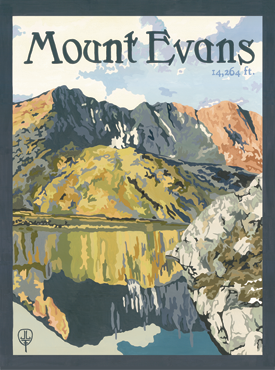 Mt. Evans Art, Mt. Evans Artwork, Mt. Evans Posters, The Bungalow Craft, Bungalow Craft, Julie Leidel, Colorado Art, Colorado Artwork, Colorado Posters, 14er Posters, 14er Art, 14er Artwork, WPA Poster, WPA Art, WPA Artwork, FAP Poster, FAP Art, FAP Artwork, National Park Poster, Vintage Poster, Vintage Poster Art, Arts and Crafts Movement, Arts & Crafts Artwork, Arts & Crafts Art, Arts & Crafts Posters, Bungalow Art, Bungalow Artwork, Bungalow Posters, Craftsman Artwork, Craftsman Posters, Mission Artwork, Ski Posters, Ski Poster Art, Ski Poster Artwork, University Art, University Artwork, University Posters