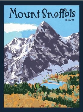 Mt. Sneffels Art, Mt. Sneffels Artwork, Mt. Sneffels Posters, The Bungalow Craft, Bungalow Craft, Julie Leidel, Colorado Art, Colorado Artwork, Colorado Posters, 14er Posters, 14er Art, 14er Artwork, WPA Poster, WPA Art, WPA Artwork, FAP Poster, FAP Art, FAP Artwork, National Park Poster, Vintage Poster, Vintage Poster Art, Arts and Crafts Movement, Arts & Crafts Artwork, Arts & Crafts Art, Arts & Crafts Posters, Bungalow Art, Bungalow Artwork, Bungalow Posters, Craftsman Artwork, Craftsman Posters, Mission Artwork, Ski Posters, Ski Poster Art, Ski Poster Artwork, University Art, University Artwork, University Posters