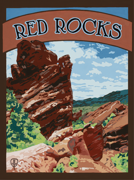 Red Rocks Art, Red Rocks Artwork, Red Rocks Posters, The Bungalow Craft, Bungalow Craft, Julie Leidel, Colorado Art, Colorado Artwork, Colorado Posters, 14er Posters, 14er Art, 14er Artwork, WPA Poster, WPA Art, WPA Artwork, FAP Poster, FAP Art, FAP Artwork, National Park Poster, Vintage Poster, Vintage Poster Art, Arts and Crafts Movement, Arts & Crafts Artwork, Arts & Crafts Art, Arts & Crafts Posters, Bungalow Art, Bungalow Artwork, Bungalow Posters, Craftsman Artwork, Craftsman Posters, Mission Artwork, Ski Posters, Ski Poster Art, Ski Poster Artwork, University Art, University Artwork, University Posters