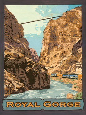 Royal Gorge Art, Royal Gorge Artwork, Royal Gorge Posters, Rail Road Posters, Rail Road Art, The Bungalow Craft, Bungalow Craft, Julie Leidel, Colorado Art, Colorado Artwork, Colorado Posters, 14er Posters, 14er Art, 14er Artwork, WPA Poster, WPA Art, WPA Artwork, FAP Poster, FAP Art, FAP Artwork, National Park Poster, Vintage Poster, Vintage Poster Art, Arts and Crafts Movement, Arts & Crafts Artwork, Arts & Crafts Art, Arts & Crafts Posters, Bungalow Art, Bungalow Artwork, Bungalow Posters, Craftsman Artwork, Craftsman Posters, Mission Artwork, Ski Posters, Ski Poster Art, Ski Poster Artwork, University Art, University Artwork, University Posters