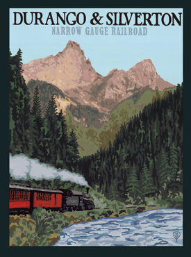 Durango Art, Durango Artwork, Durango Poster, Narrow Gauge Rail Road, Rail Road Posters, Rail Road Artwork, The Bungalow Craft, Bungalow Craft, Julie Leidel, Colorado Art, Colorado Artwork, Colorado Posters, 14er Posters, 14er Art, 14er Artwork, WPA Poster, WPA Art, WPA Artwork, FAP Poster, FAP Art, FAP Artwork, National Park Poster, Vintage Poster, Vintage Poster Art, Arts and Crafts Movement, Arts & Crafts Artwork, Arts & Crafts Art, Arts & Crafts Posters, Bungalow Art, Bungalow Artwork, Bungalow Posters, Craftsman Artwork, Craftsman Posters, Mission Artwork, Ski Posters, Ski Poster Art, Ski Poster Artwork, University Art, University Artwork, University Posters