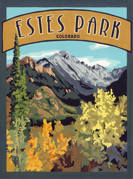 Estes Park Art, Estes Park Artwork, Estes Park Posters, Rocky Mountain National Park, The Bungalow Craft, Bungalow Craft, Julie Leidel, Colorado Art, Colorado Artwork, Colorado Posters, 14er Posters, 14er Art, 14er Artwork, WPA Poster, WPA Art, WPA Artwork, FAP Poster, FAP Art, FAP Artwork, National Park Poster, Vintage Poster, Vintage Poster Art, Arts and Crafts Movement, Arts & Crafts Artwork, Arts & Crafts Art, Arts & Crafts Posters, Bungalow Art, Bungalow Artwork, Bungalow Posters, Craftsman Artwork, Craftsman Posters, Mission Artwork, Ski Posters, Ski Poster Art, Ski Poster Artwork, University Art, University Artwork, University Posters
